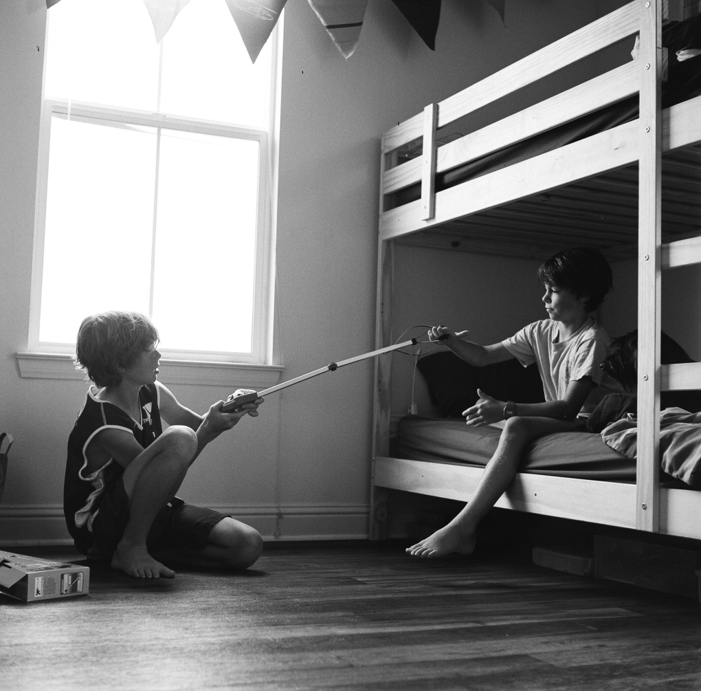 boys playing on bunk bed by Sharon McKeeman for Childhood Unplugged july