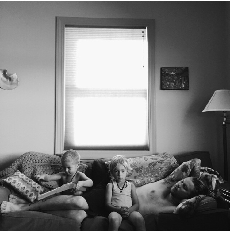 black and white image of boys on couch with father, ashley jennet, childhood unplugged, the stork and the beanstalk